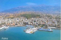 panorama of the port and the city of Patra.                               Patra is Greece's third largest urban area and the regional capital of Western Greece, in northern Peloponnese, 215 km (134 mi) west of Athens