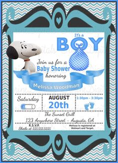 Sleepytime snoopy baby snoopy baby shower invitations snoopy or fifi baby shower invitation movie peanuts themed baby shower filmwisefo Choice Image