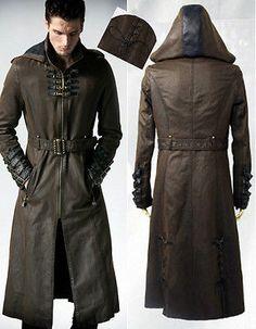 Manteau-capuche-gothique-steampunk-cuir-sangles-lacages-bronze-Punkrave-homme