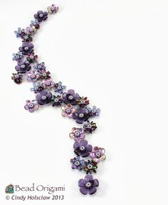 Bead Origami: Purple Sakura Charms and Possible Arrangements