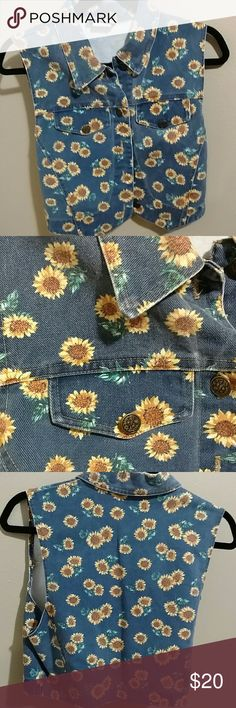 Sunflower Denim Vest New!! Seriously so cute! Not the lucky brand!! Lucky Brand Jackets & Coats Vests
