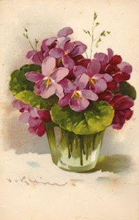 Catherine Klein ~ violets in pretty vase