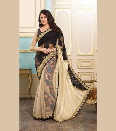 Buy Black Net Party Wear Saree 70519 with blouse online at lowest price from vast collection of sarees at Indianclothstore.com.