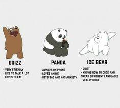 We Bare Bears: Grizz, Panda, Ice bear Ice Bear We Bare Bears, 3 Bears, Cute Bears, The Bear, We Bare Bears Wallpapers, Panda Wallpapers, Cute Cartoon Wallpapers, Bear Wallpaper, Disney Wallpaper