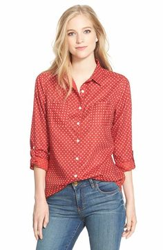 I love the casual look of this top. Caslon® Long Sleeve Cotton Shirt (Regular & Petite) available at Nordstrom Coats, How To Roll Sleeves, Peasant Tops, Free Clothes, Workout Shirts, Casual Looks, Printed Shirts, Blouses For Women, Cotton