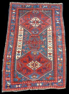 Antique Kuba rug with zoomorphic elements