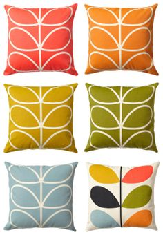 love the colors Vintage Design, Retro Design, Orla Kiely Cushions, Orla Keily, Small Space Interior Design, Pillow Fight, Retro Home Decor, Throw Cushions, Mid Century Design