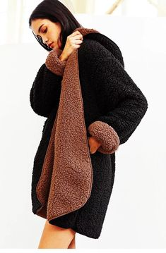 40bcad6fd35 Two tone teddy bear long coat with a hood   Your new women s winter fashion  essential