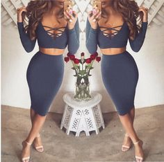 Women Two Piece V Neck Long Sleeve Autumn Sexy Club Bandage Bodycon Party Dress