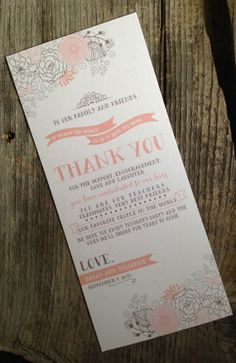 Printed Rustic Thank You Wedding Place Settings