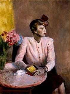 Guy Pène du Bois (American, 1884–1958) : Portia in a Pink Blouse, 1942. Indianapolis Museum of Art, Indiana.