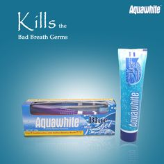 Aquawhite Mint Blue gel toothpaste cares for your mouth, helping you keep it healthy and happy.
