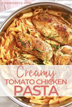 This creamy tomato chicken pasta recipe is the perfect weeknight dinner comfort food - it's a one pot wonder that the whole family will love! Creamy Chicken Pasta, Creamy Tomato Sauce, Easy Baked Chicken, Chicken Pasta Recipes, Pasta Recipes For Kids, Dinner Recipes, Easy Weeknight Meals, Easy Meals, Greek Lemon Chicken