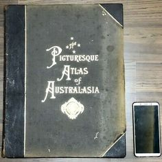 Large 1886's Collectible Vintage History Picture Book Atlas of Australasia 17"
