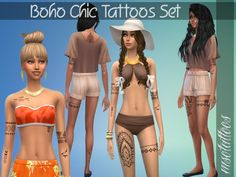 For females only. The tattoos match all skintones.  Found in TSR Category 'Sims 4 Accessories Sets'