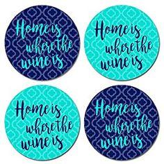 Amazon.com | Wine Coasters - Home is Where the Wine Is Round Coaster Set - Neoprene Rubber: Coasters