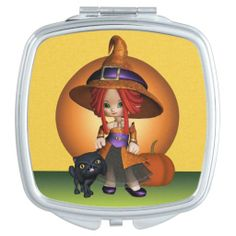 Cute Toon Witch and Black Cat Compact Mirror. #Witch #CompactMirror #Halloween #Autumn #Samhain #Magical #Blackcat