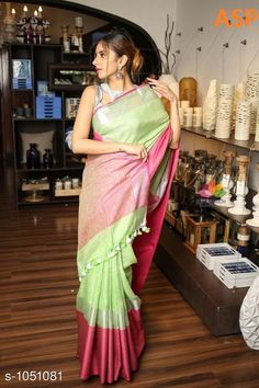 Sarees Attractive Linen Saree  *Fabric* Saree - Linen, Blouse - Linen  *Size* Saree Length With Running Blouse - 6.3 Mtr  *Work* Handloom Work  *Sizes Available* Free Size *   Catalog Rating: ★4 (1149)  Catalog Name: Aaryahi Solid Linen Sarees with Tassels and Latkans CatalogID_127991 C74-SC1004 Code: 357-1051081-