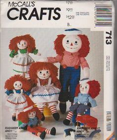 McCall's Sewing Pattern 713 5499 Classic Raggedy Ann and Andy Soft Dolls Four Sizes and Clothes