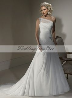 One shoulder chiffon wedding dress with dropped waist