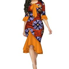 Fashion Summer African Dresses for Women Bazin Riche Bow Knot Patchwork Dress Traditional African Women Clothing African Fashion Designers, Latest African Fashion Dresses, African Dresses For Women, African Print Dresses, African Print Fashion, Africa Fashion, African Attire, African Women Fashion, Ankara Fashion