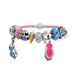 Bling Jewelry 925 Silver Beach Vacation Summer Charm Bead Bracelet. Summer Jewelry Bead Bracelet. Screw Barrel ClaspMaterial: .925 Sterling Silver, Leather, Gold Plating, CZ, Crystal, Glass, Enamel, Rubber Measure: 6.5 - 9 in L x 3mm W Weight: 23.7 Grams. Compatible with Pandora Charms, Biagi, Troll, Chamilia, European Style, Persona, Ohm, Kay's Charmed Memories and More. Fits both necklace and bracelet 3mm or smaller. The Unthreaded Hole Size is about 4.8mm-5mm. Free elegant black velvet...