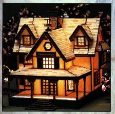 stained glass Christmas house