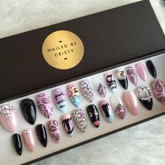 Full Set Girly Gangsta Press On Nails Any Shape by NailedByCristy