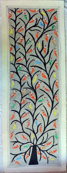 Indian Folk Art / Madhubani / Mithila Painting on by Crafts69, $70.00