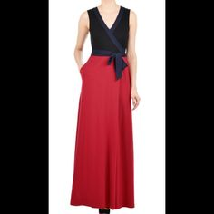 """New Eshakti Maxi Knit Dress w/Long Sleeves 18W New Eshakti colorbblock knit maxi wrap dress w/ long sleeves Size 18W Measured flat: underarm to underarm: 40"""" Waist: 36"""" Length: 62 1/2"""" Eshakti size chart for size 18W bust: 45"""" Sleeves: 23"""" Red and black with navy trim. Side seam pockets. Cotton/spandex, woven jersey knit, light stretch. Machine wash. (This dress is identical to the stock photo except that it has added long sleeves) Eshakti Dresses Maxi"""
