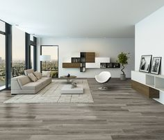 """Power Dekor's """"Montrose"""" Laminate Flooring - 15mm thick commercially durable planks featuring saw markings over Oak grain textures in a contemporary colour range. Seen here 8004 - Driftwood Oak"""