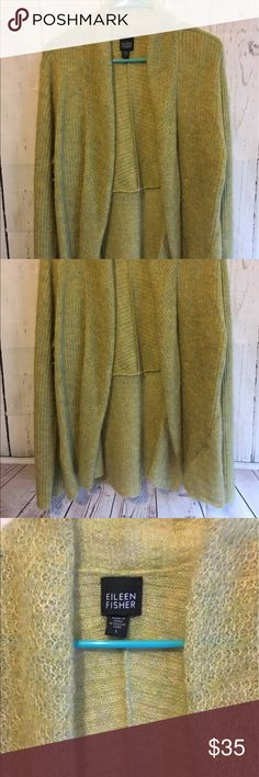 """Eileen Fisher Mohair Open Cardigan Lime Green A beautiful Cardigan and it is so soft! It is a size large and measures 29"""" long 24"""" from armpit to armpit when it is laid flat and 29"""" from shoulder to sleeve. It is 65% Mohair 30% Polyester and 5% Wool. If you need additional measurements please let me know and I will get them to you quickly before purchasing. Eileen Fisher Sweaters Cardigans"""