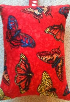 Red Butterfly Fabric Lavender Bag - Handmade