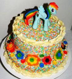 Rainbow dash. Like the idea of rainbow sprinkles for the cake.
