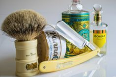 Simpson Milk Churn badger brush, Panna Crema shave soap, 4711 cologne as an aftershave, Penhaligon's Douro cologne, Henckels stainless steel razor, April 15, 2014