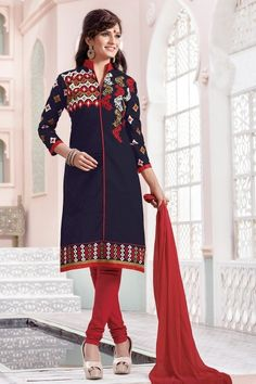 Thankar Navy Blue  amp  Red  Embroidered  Cotton  Straight  Suit Online in c0f7b9e83edc7