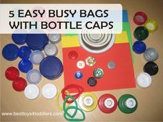 5 easy bottle cap busy bags for toddlers