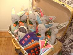 Cute stuffed Bunnies! Great display.