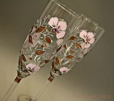 Champagne Glasses Wedding Glasses Toasting by NevenaArtGlass