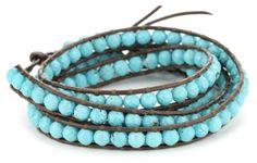 Chan Luu Turquoise Leather Wrap Bracelet%2C 32%22