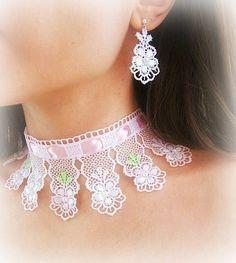 Lace bridal jewelry set flower choker by MalinaCapricciosa on Etsy