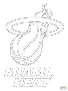 Miami Heat Logo Coloring Page SuperColoring