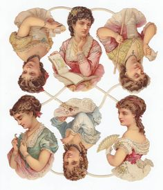 Victorian Die Cuts Paper Lady Girls Reading Fashion Dress Scraps