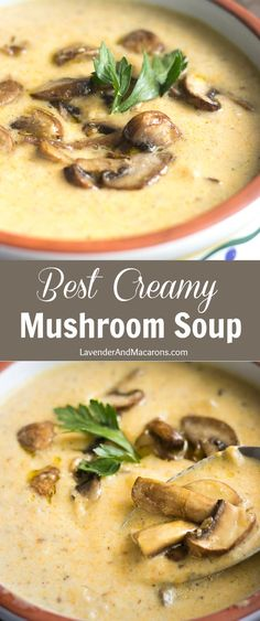 Cold winter weather calls for a bowl of homemade Mushroom Soup. So cozy hearty and delicious! This easy and quick vegetarian soup can be prepared creamy or clear. It has a ton of flavor and the recipe uses simple ingredients. You can also make it low car Easy Mushroom Soup, Homemade Mushroom Soup, Mushroom Soup Recipes, Creamy Mushrooms, Stuffed Mushrooms, Vegetarian Soup, Vegetarian Recipes, Cooking Recipes, Healthy Recipes