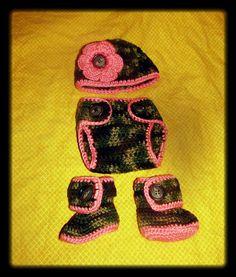 Newborn Set Textured Beanie Diaper cover and by NStitchesCrochet, $30.00