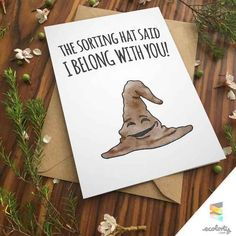 SORTING HAT CARD Harry Potter Greeting Card Print Albus Couple Cute Anniversary I Love You wizard Pun Magic Hogwarts Boyfriend Girlfriend - valentines day cards for boyfriend Harry Potter Karten, Carte Harry Potter, Harry Potter Cards, Harry Potter Diy, Harry Potter Birthday Cards, Harry Potter Valentines Cards, Harry Potter Anniversary, Harry Potter Drawings Easy, Harry Potter Presents