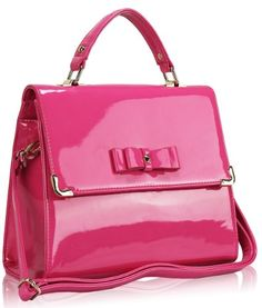 Pink Retro Patent Classy Ladies Satchel Shoulder Designer Handbag (12