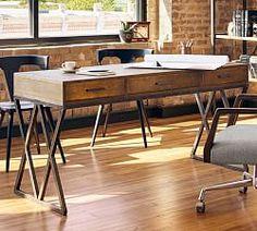 Francisco Draft Desk, Office Desk | Pottery Barn Writing Desk With Drawers, Desk Shelves, File Cabinet Desk, Marble Desk, Reclaimed Wood Desk, Modular Office, Home Office Desks, Office Furniture, Furniture Ideas