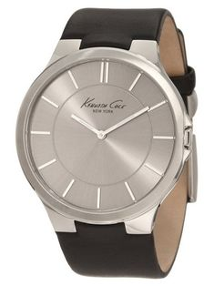 Kenneth Cole New York Mens Stainless Steel Watch with Black Leather Band *** You can get more details by clicking on the image. (This is an affiliate link) Amazing Watches, Best Watches For Men, Beautiful Watches, Cool Watches, Wrist Watches, Women's Watches, Bulova, Oakley, Black Leather Watch