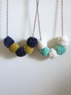 PomPom Necklace  Ecru & Mint PomPoms  by KMWKCreativeStudio, $17.00 #pompom #kmwkcreativestudio